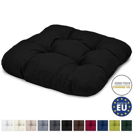 Beautissu Cojín para sillas Lisa 40x40x8 cm - Negro - para ...
