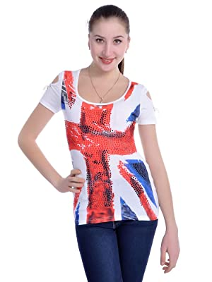 Anna-Kaci S/M Fit White Union Jack Rhinestone Embellished Vertical Slash Top