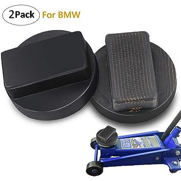 Almohadilla del gato del coche, 2 paquete BMW Slotted Frame Rubber Jack Protector del carril del marco del cojín - Negro: Amazon.es: Coche y moto