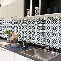 Tegelstickers, zelfklevend, cementtegels, wanddecoratie, wandstickers, tegelstickers, voor badkamer en keuken, 15 x 15…