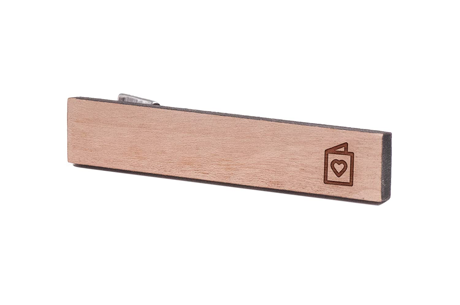 Wooden Accessories Company Wooden Tie Clips with Laser Engraved Greeting Card Design Cherry Wood Tie Bar Engraved in The USA