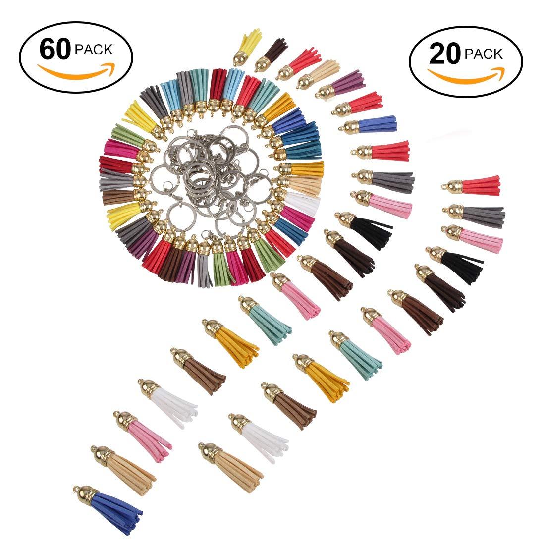 Ciaoed Keychain Anhänger Quaste Leder Quaste Faux Wildleder Quaste mit Kappen für Keychain DIY Zubehör, 60 Stücke 20 Farben