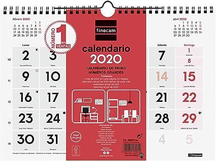 Finocam - Calendario de pared 2020 Números Grandes español: Amazon ...