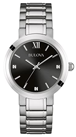 bulova men s diamond quartz watch black dial analogue display bulova men s diamond quartz watch black dial analogue display and silver stainless steel bracelet 96d124