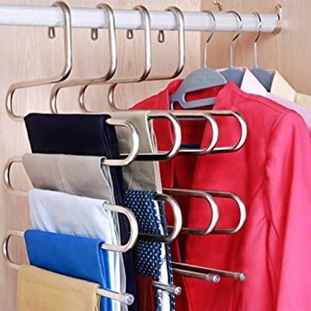 organizador para bufandas color beige ropa toallas barra antideslizante para ahorrar espacio pantalones vaqueros Nisorpa Colgador de pantalones con 22 barras de acero deslizantes pantalones