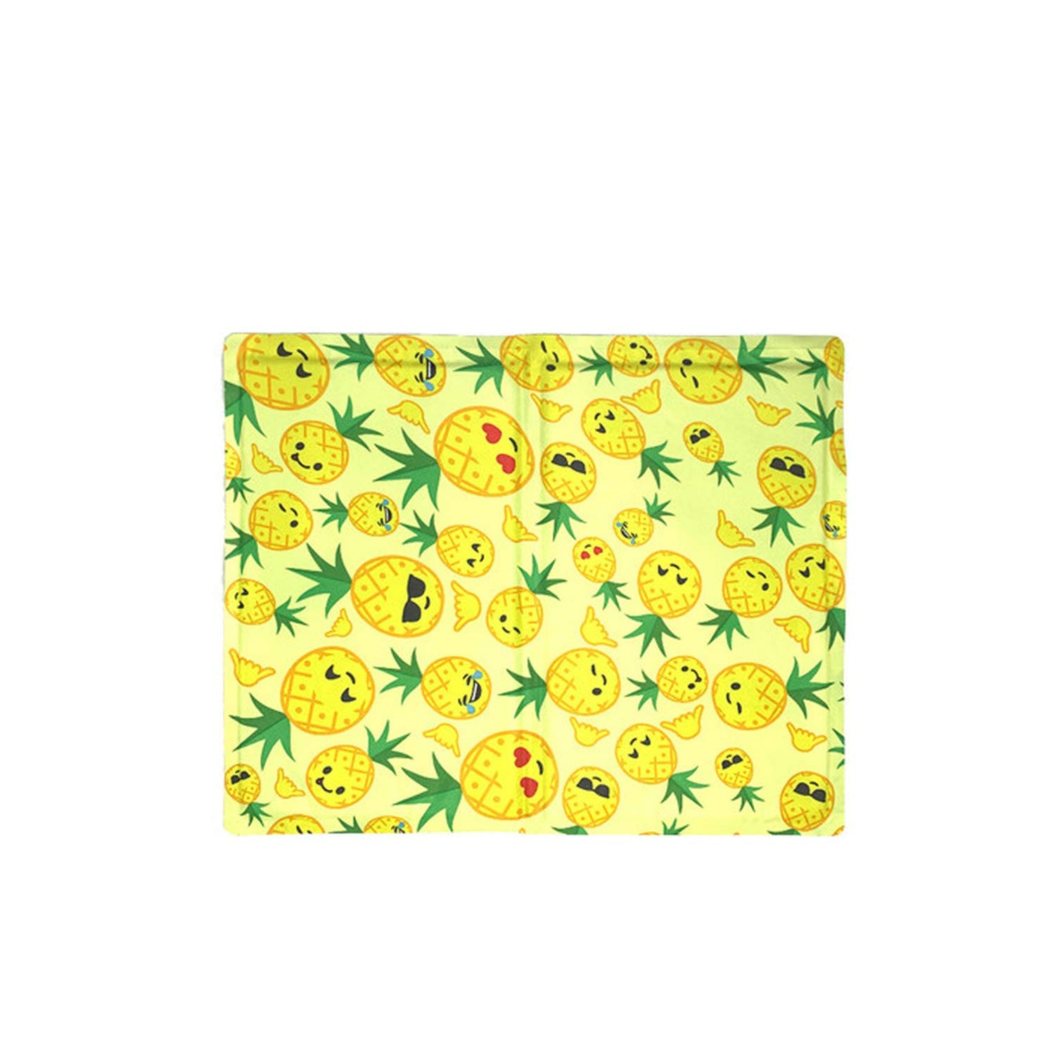 Colorful Pet Dog Bed Cooler Mat Pad Cool Gel Non Toxic Pet Cooling Pad Cushion Summer Dog Cooling Mat Bed,Pineapple,L-50X65Cm