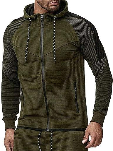 Big Hit Men Zipper Patchwork Hoodie Sweatshirt Casual Long Sleeve Top