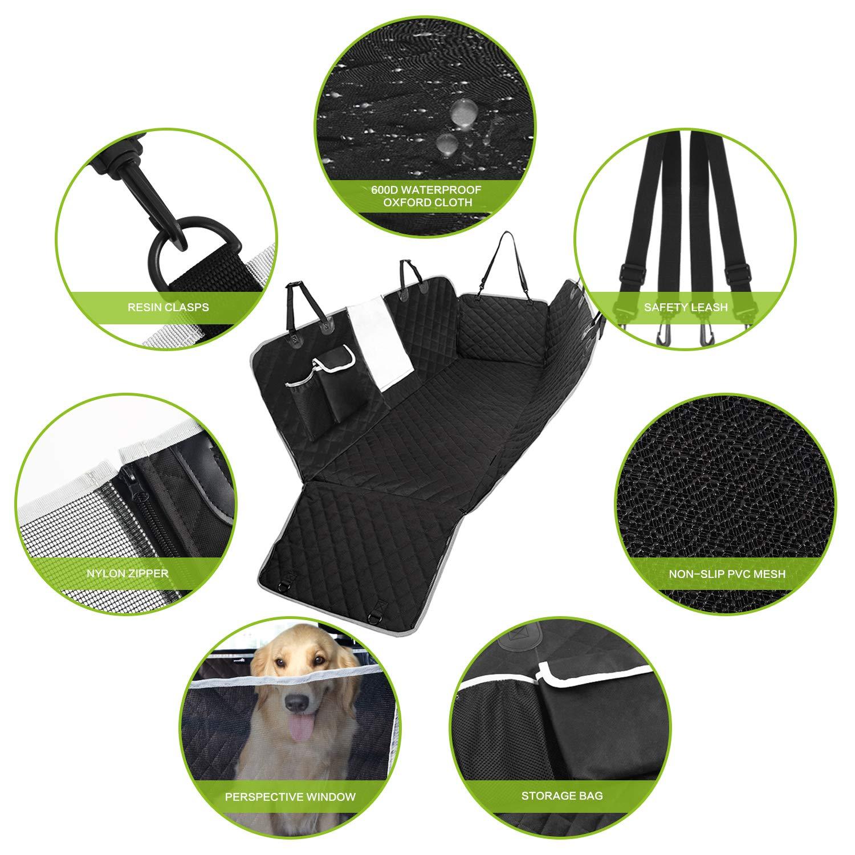 Pecute 【Nuova Versione Coprisedile Posteriore Universale per Sedile dell\'Auto per Animali Domestici Impermeabile Spesso Resistente con Rete di Prospettiva e Sacchetto