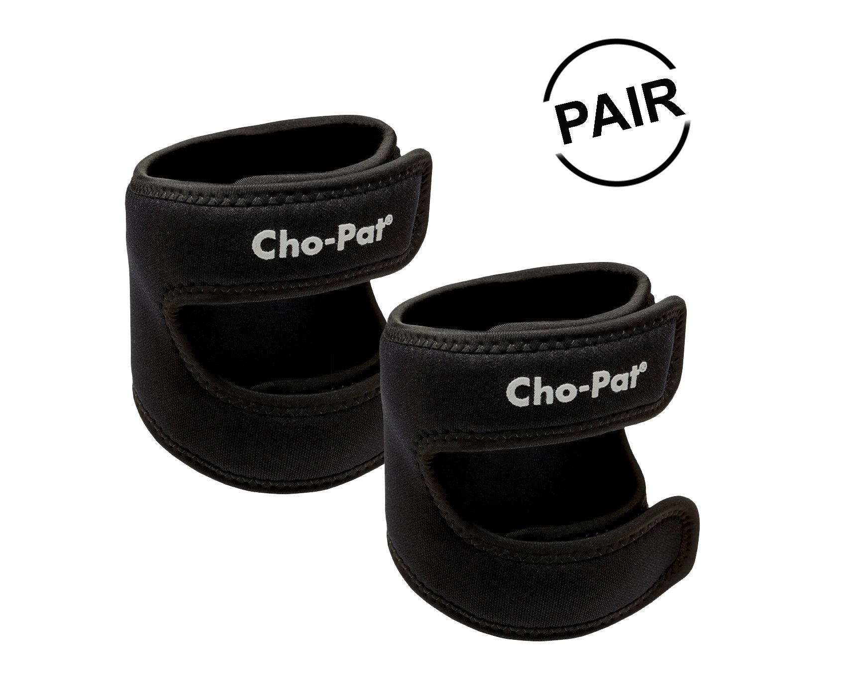 "Cho-Pat Dual Action Knee Strap (Pair) – Provides Full Mobility & Pain Relief for Weakened Knees – Black (Medium, 14""-16"")"