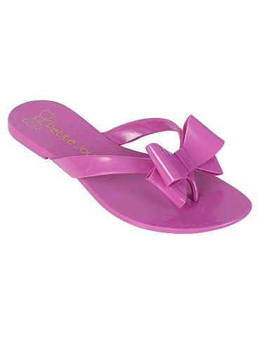 Petite Jolie lila Schleife Flip Flops, Violett - violett - Größe: 42