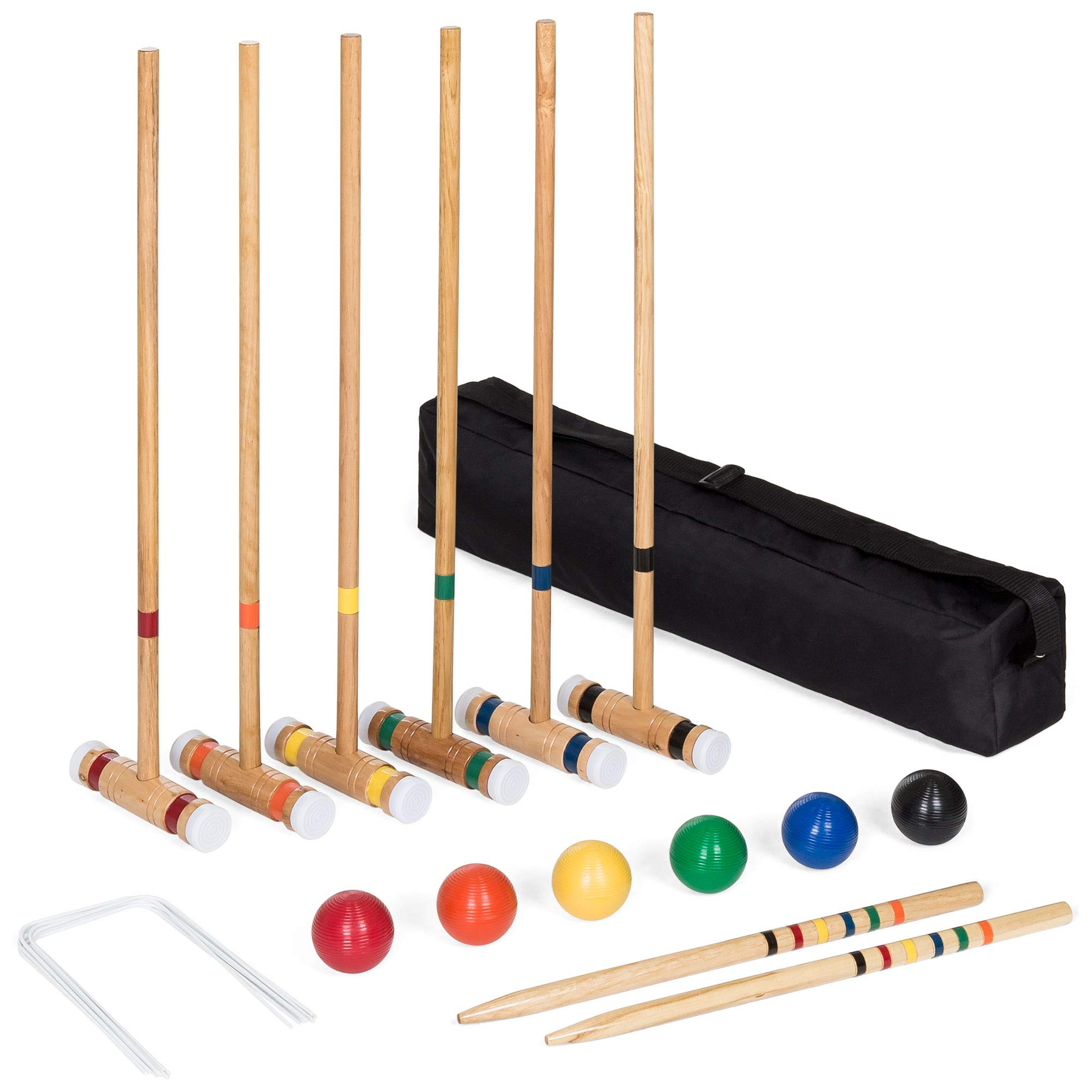 Best Choice Products 6-Player 32in Yard Classic Wood Croquet Sport Game Set w/ 6 Mallets, 6 Balls, Wickets, Stakes, Bag by Best Choice Products