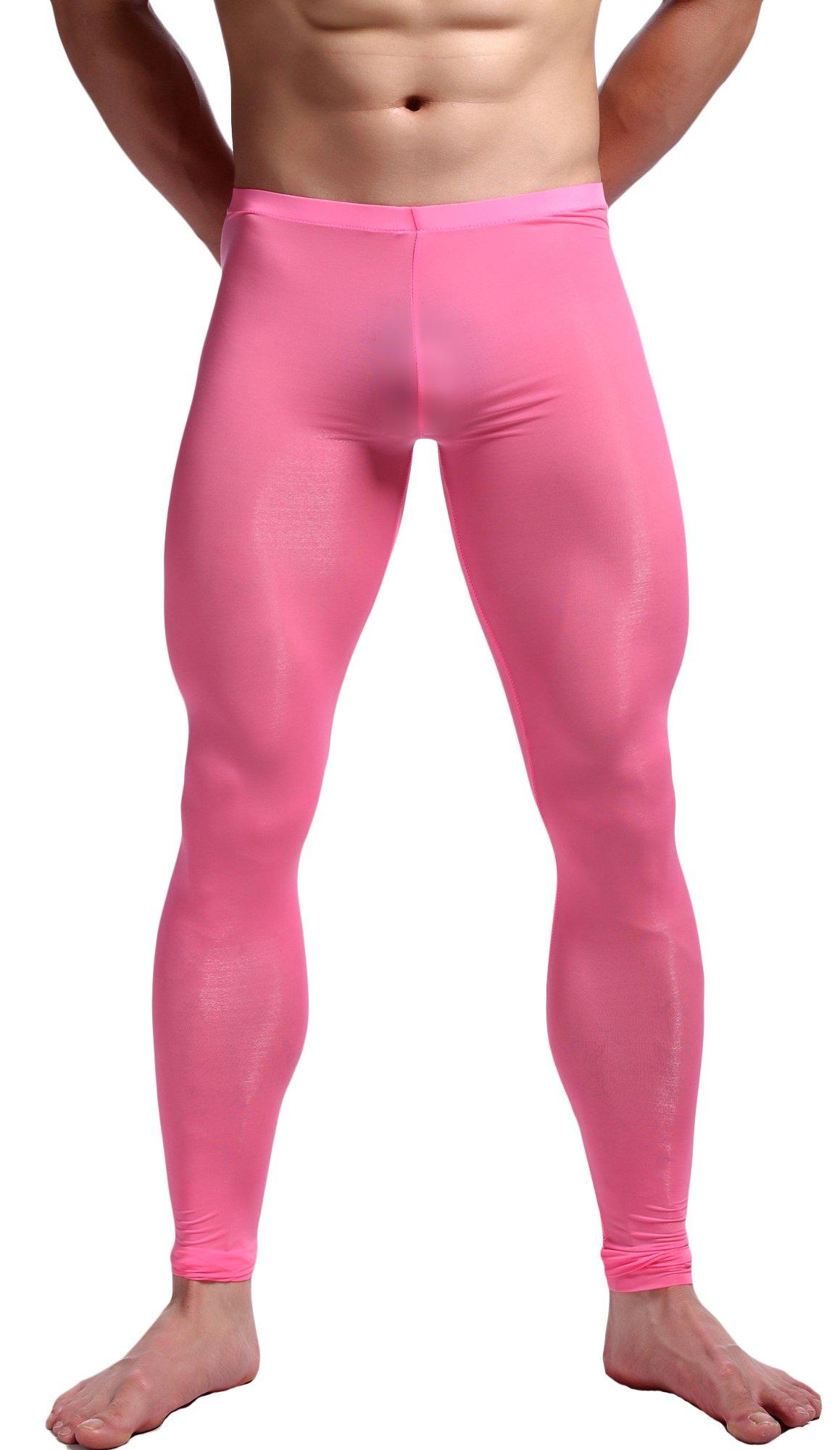 WUAMBO Men's Mesh Long Johns Slim Sexy Legging Tights Pink XL (Waist:32''-35'') by WUAMBO