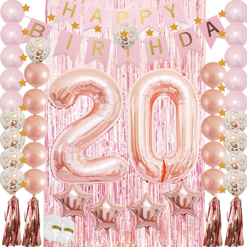 20th Birthday Decoration for Women&Girls 20th Her Party Supplies ...
