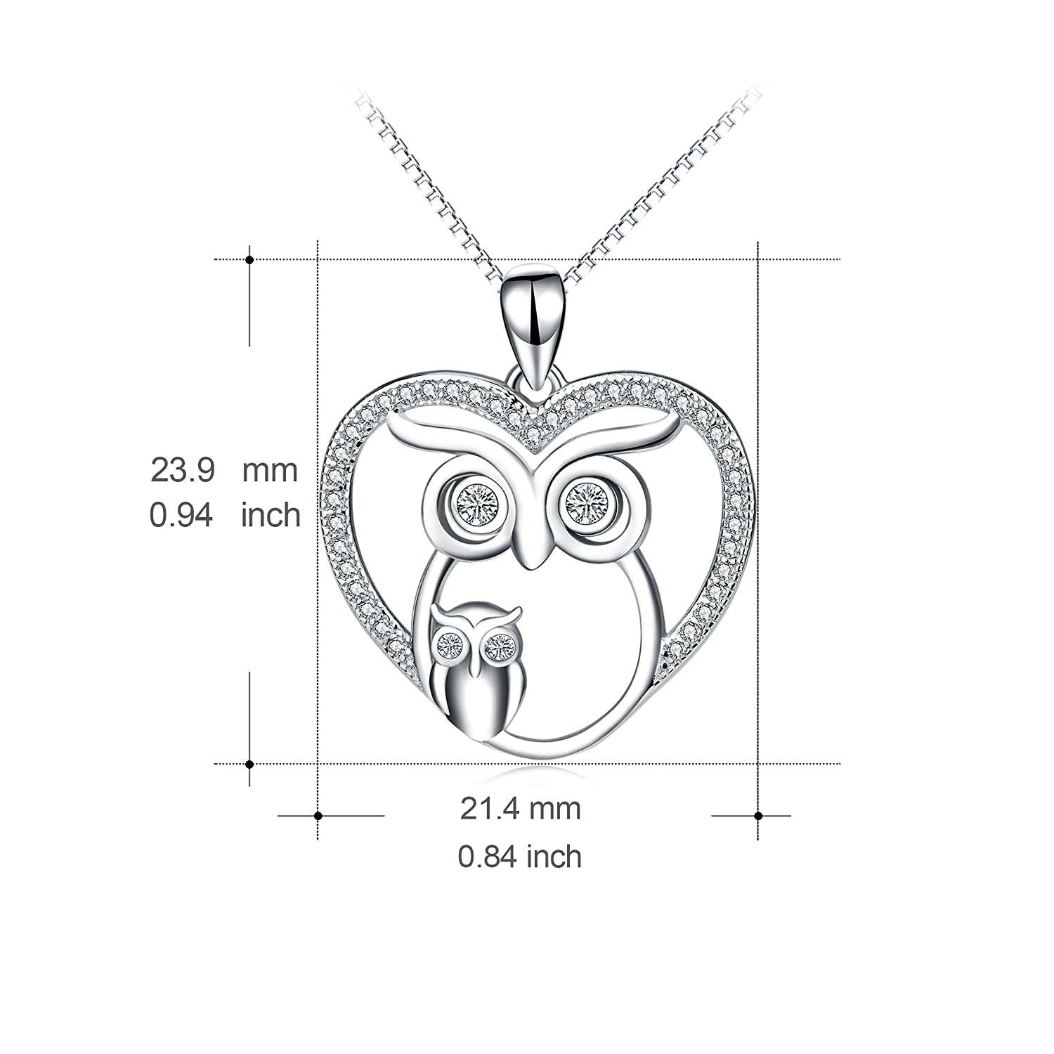 c6e548c41 Amazon.com: Angel caller Owl Necklace Sterling Silver Love Heart Mother and  Daughter Owl Jewelry for Women Girls, 20