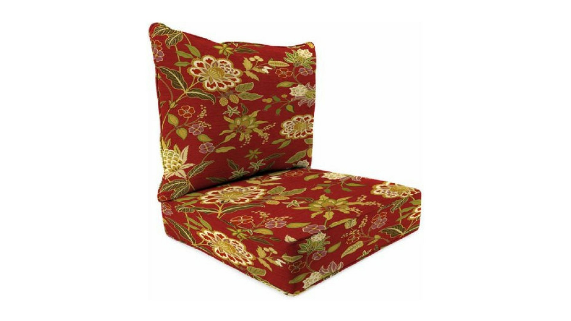 Indoor Alberta Salsa Deep-Seat Poly-wrapped Boxed Chair Cushion, 100 Percent Polyester Fabric by Jordan*