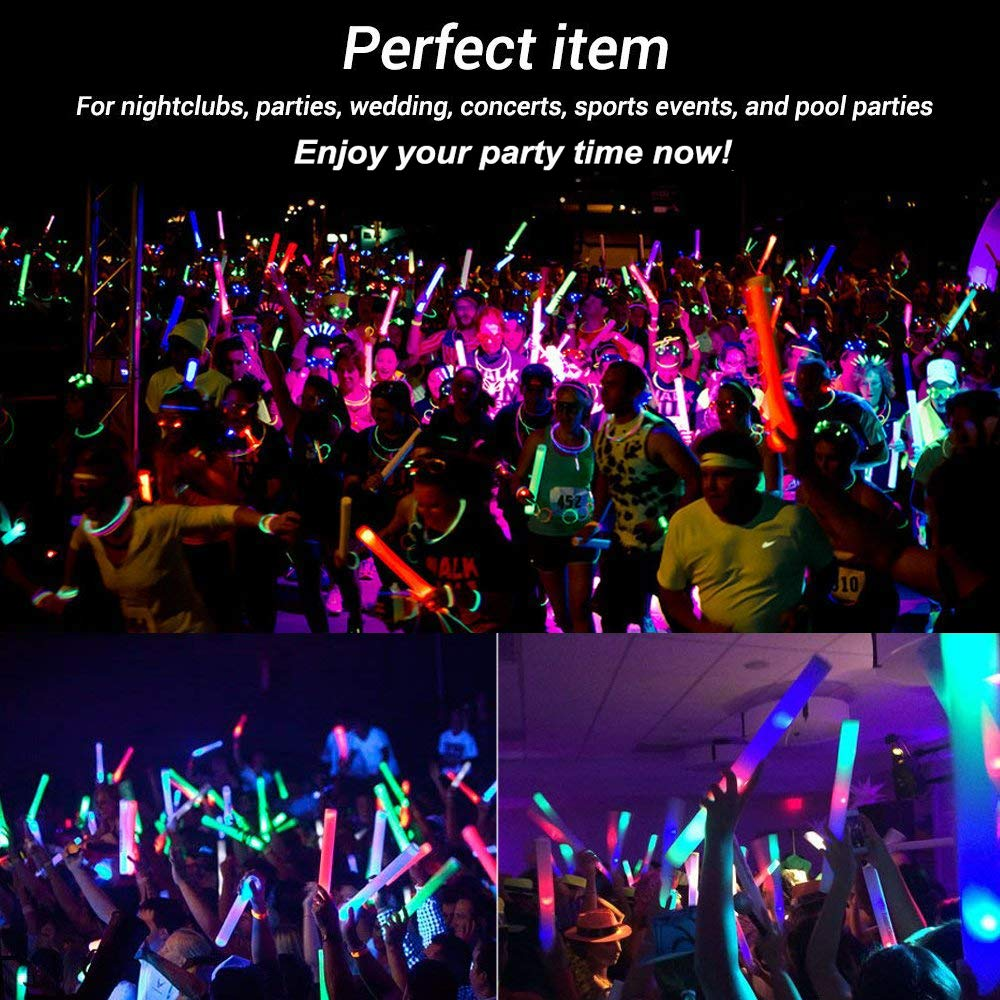 Foam Glow Sticks Bulk 50PCS - Light Up Toys Glow in The Dark Party Supplies with 3 Modes LED Flashing, Party Favors for Kids and Adults by AOLODA (Image #2)