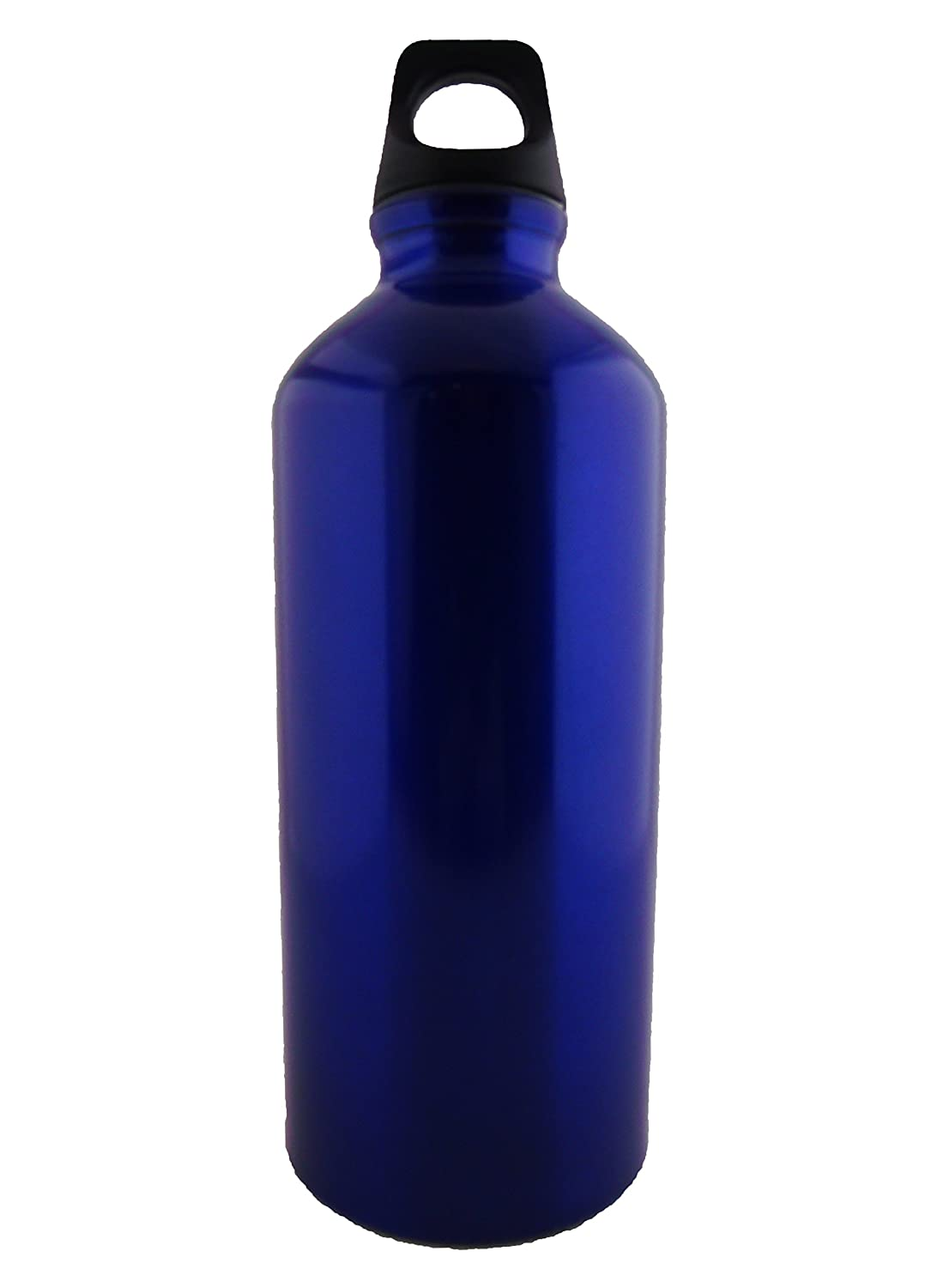 Midnight Blue 20oz Kitchsmart Aluminum Water Bottle with Plastic Screw Lid Looped on the Top