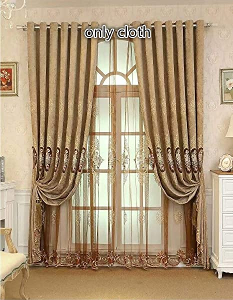 Amazon Com Tiyana Brown Curtain For Living Room 96 Inches Long Grommet Top Luxury Chenille Cloth Fabric 1 Piece 114x96 Inch Kitchen Dining
