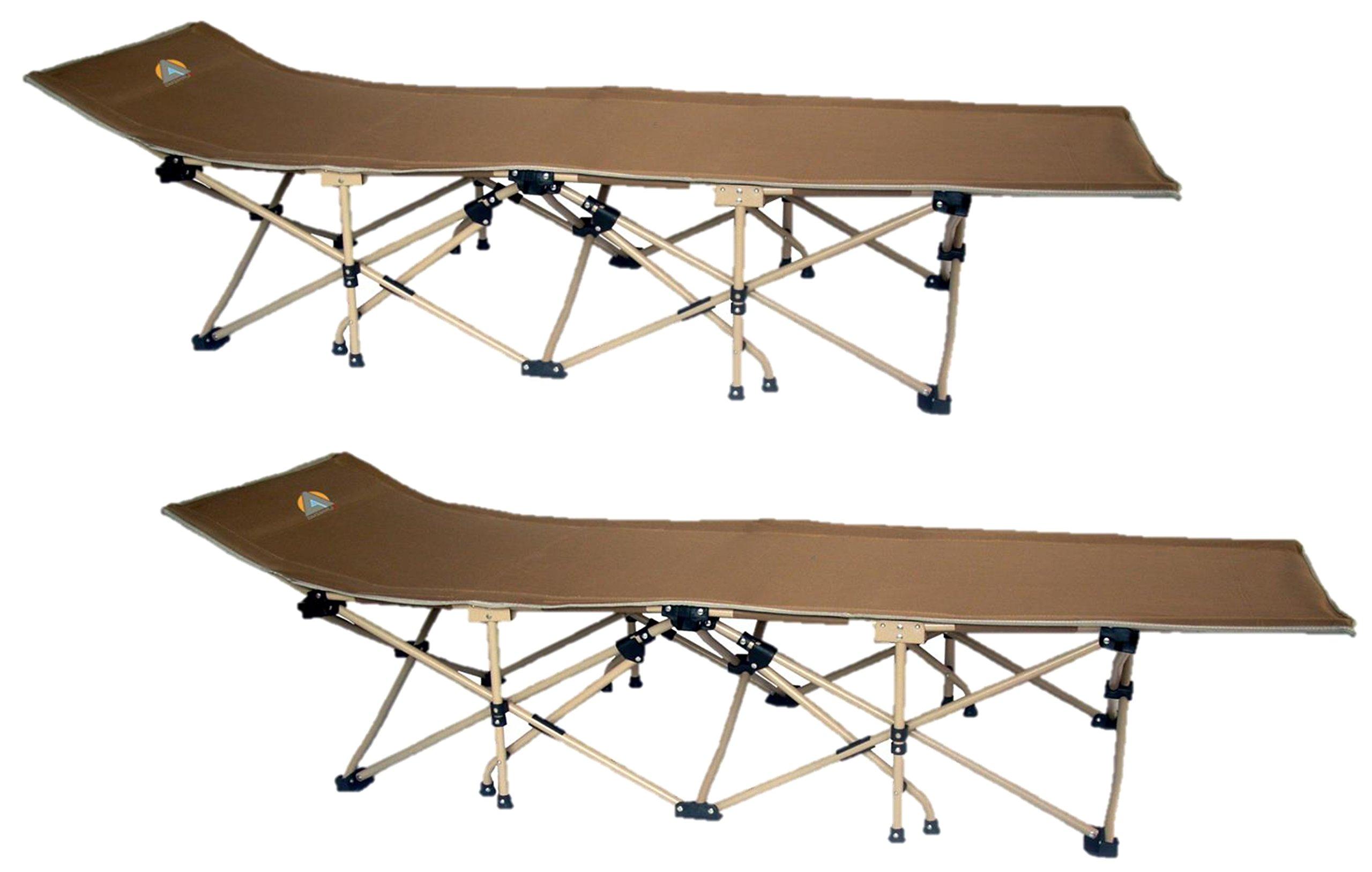 High Peak USA Alpinizmo Patented 14 Legs Folding Camp Cot ( Set Of 2), Brown, Regular
