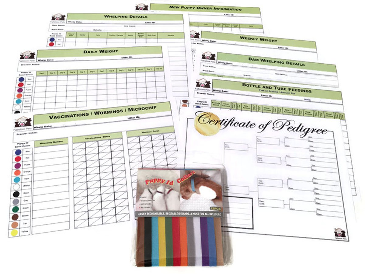 Puppy Whelping Collars Set with Color-Coded Record Keeping Charts for Breeders