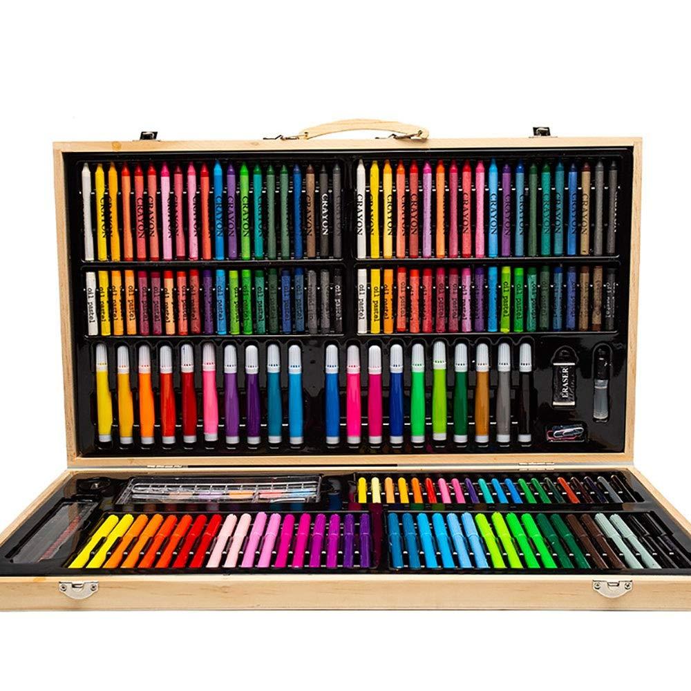 DERTHWER Children's Watercolor Pen Set 180 Piece Art Studio Childrens Colouring Set Kids Pencil Crayons Paints Colored Pencil Set DIY Painting Tools (Color : Natural, Size : Free Size)