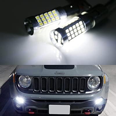 iJDMTOY (2) 6000K Xenon White CAN-bus LED Daytime Running Light DRL Bulbs Compatible With 2015-2020 Jeep Renegade: Automotive