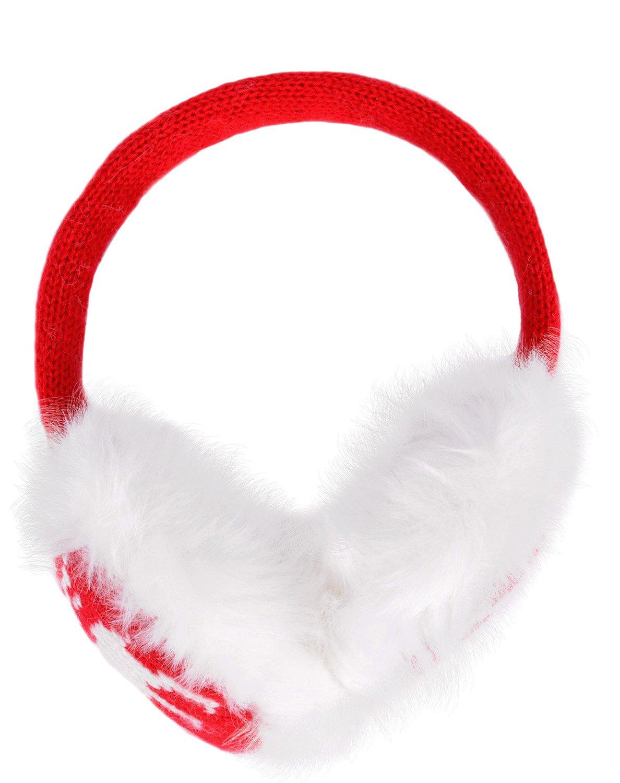 AshopZ Women Ear Warmers with Seasonal Christmas Pattern, Knitted Black