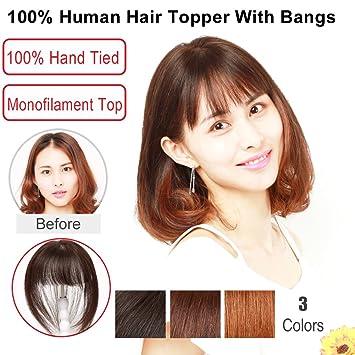 Igennki 100% Human Hair Topper Hand Tied Mono Top Hair Pieces Clip In Hair  Wiglets 620d46721
