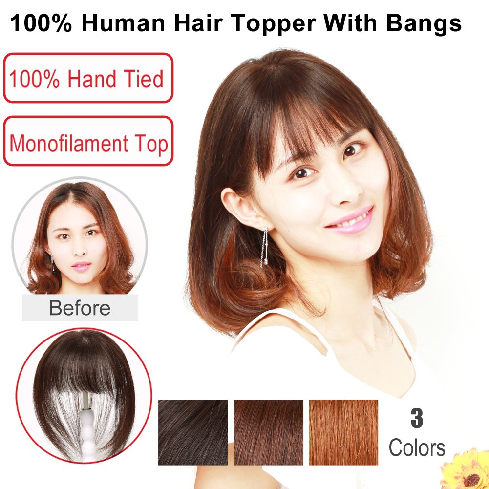 Igennki 100% Human Hair Topper Hand Tied Mono Top Hair Pieces Clip in Hair Wiglets for Women Thinning Hair,Hair Loss (2.8''3.9'' with bangs, LB Dark Brown)