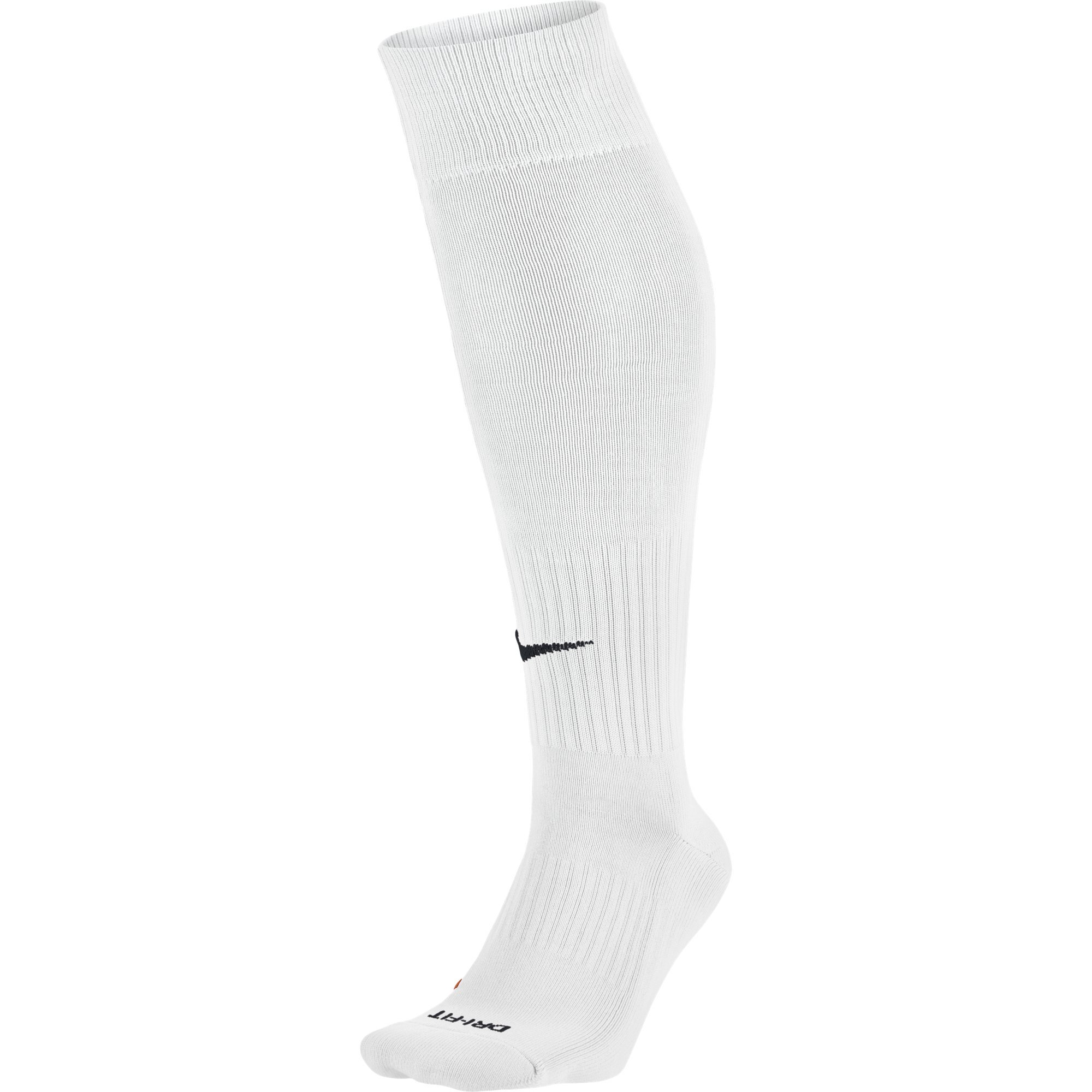 NIKE Unisex Academy Over-The-Calf Soccer Socks, White/Black, Large