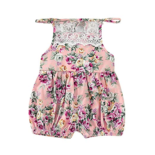 efc14bb7298 Pitauce Summer Toddler Baby Girl Clothes Cute Flower Print Lace Trim  Backless Romper Shorts Jumpsuit Pink