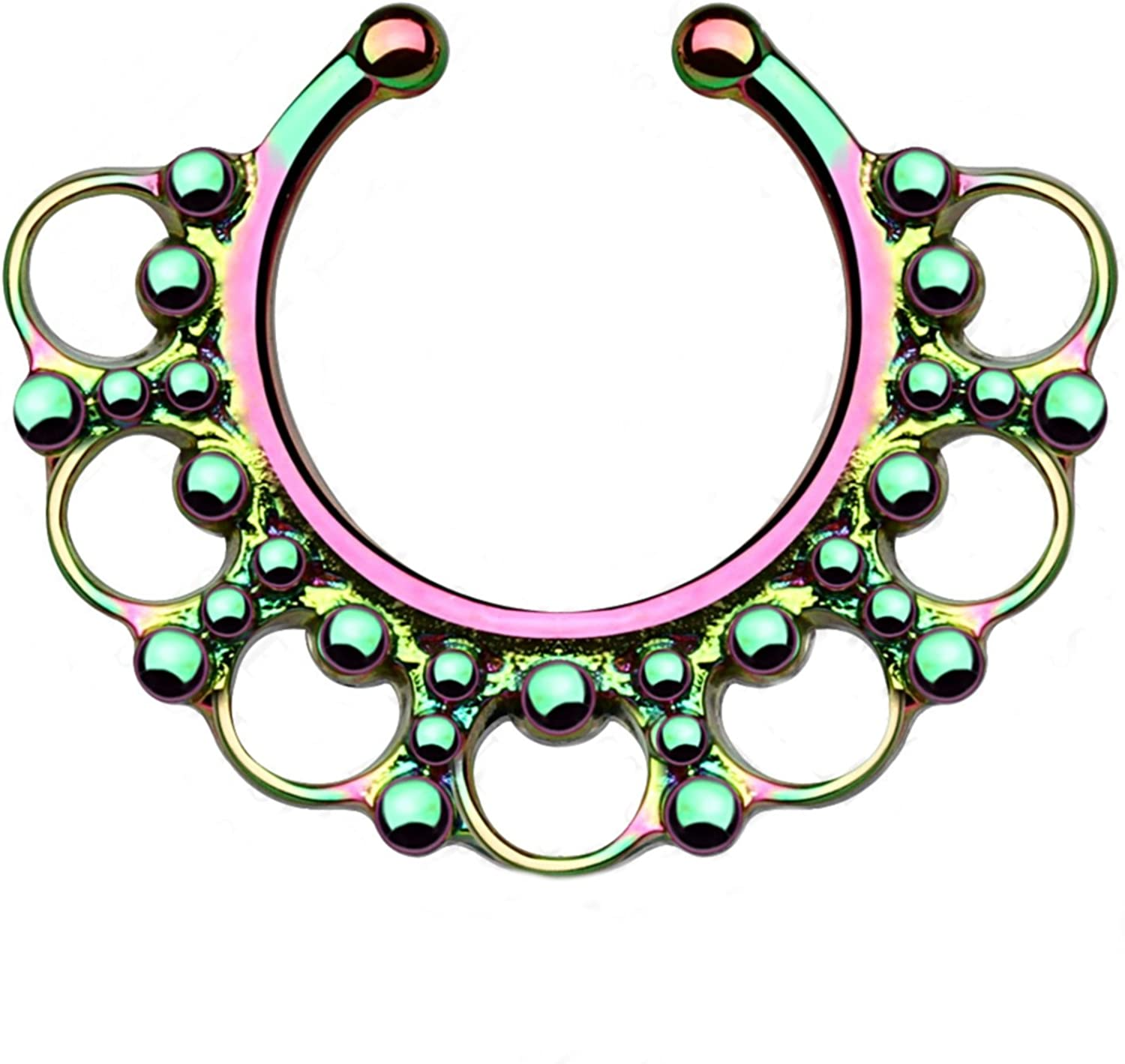 Surgical Steel Ornate Tribal Style Septum Hanger Non-Piercing Clip On Jewelry 3 Colors Available