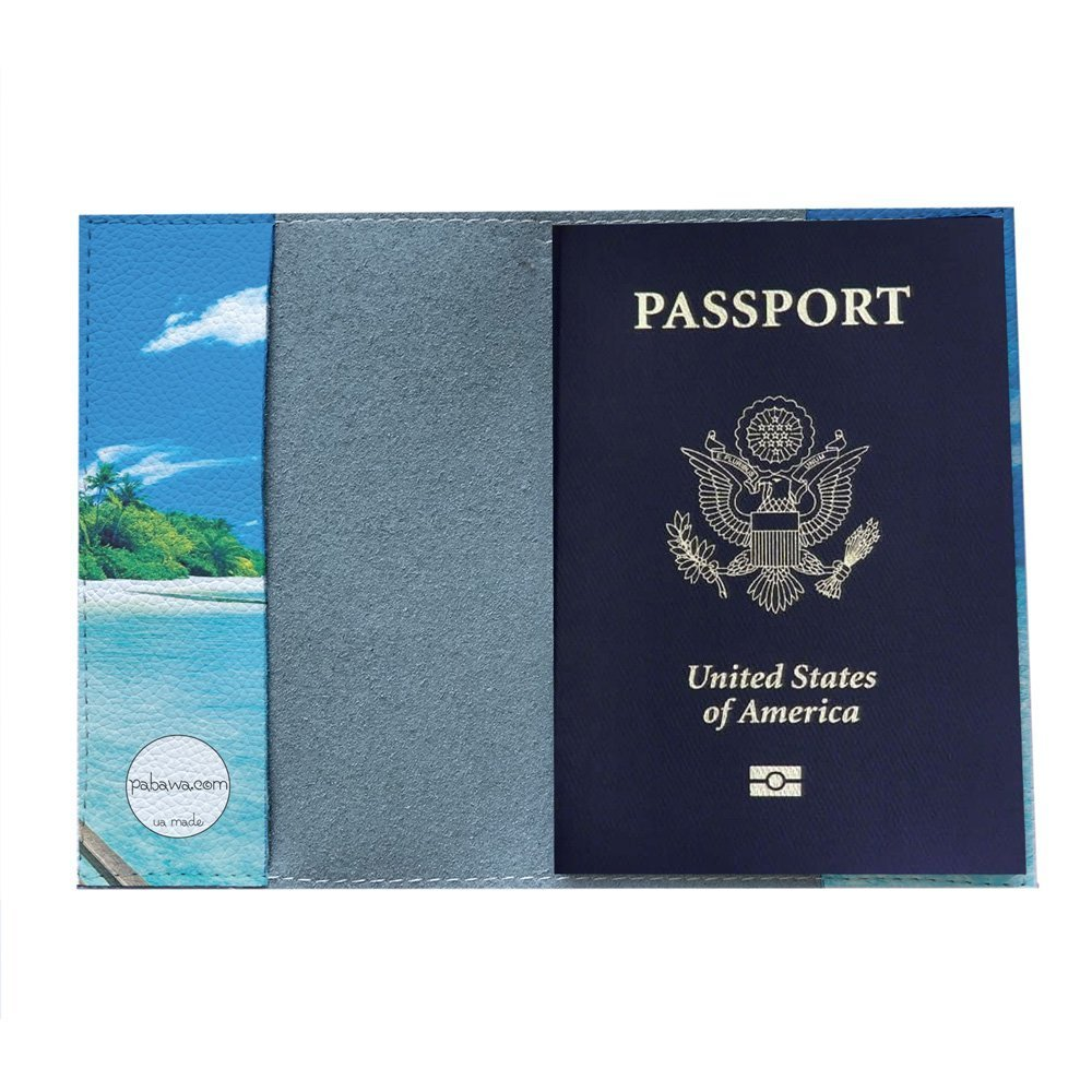 leather colorful sea design for travel Awesome island Passport Holder cover eco