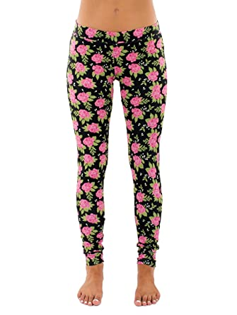 59ca5b86fc6e81 Pink and Black Floral Flower Leggings Pants at Amazon Women's ...