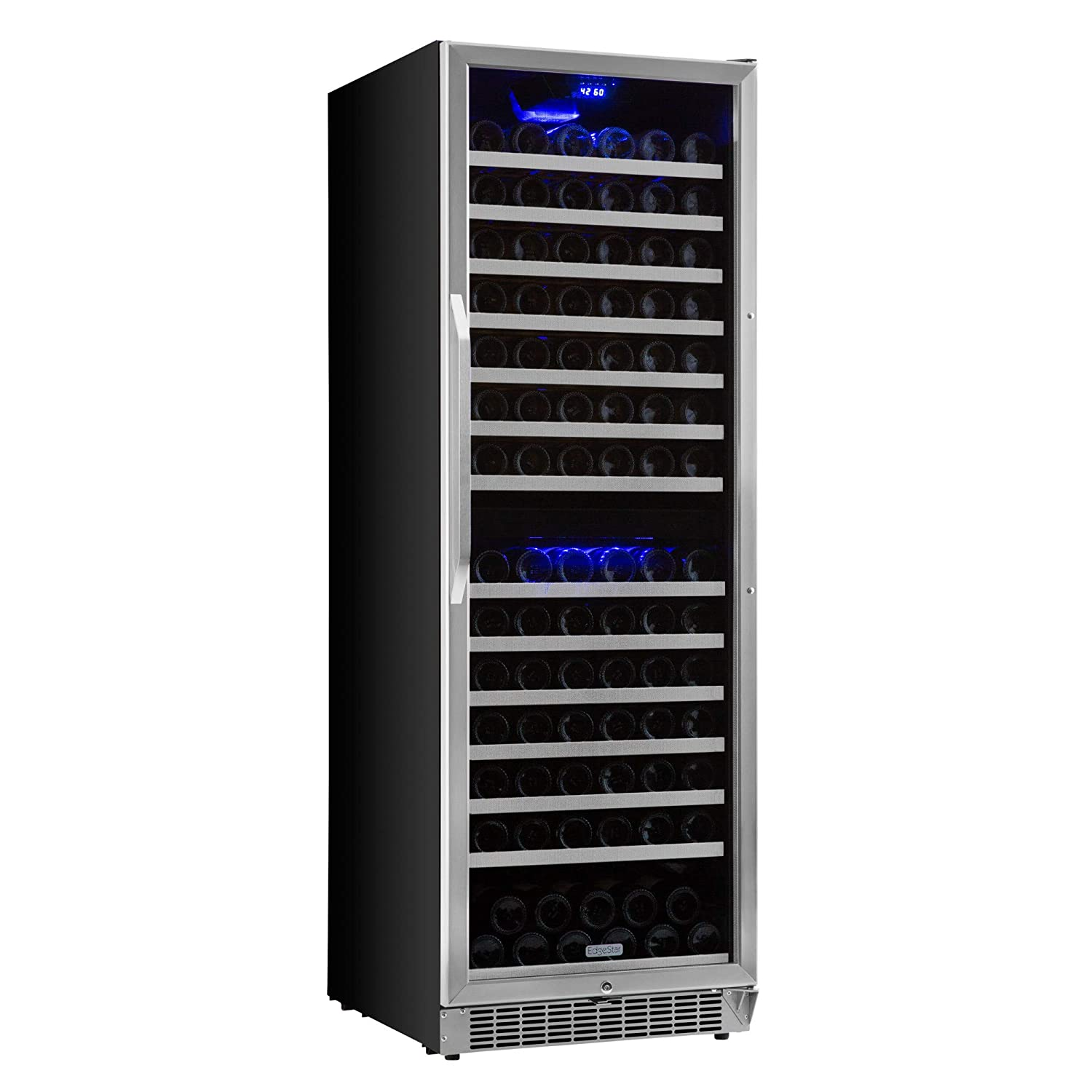 EdgeStar CWR1551DZ 155 Bottle Built-In or Freestanding Dual Zone Wine Cooler - Stainless Steel/Black