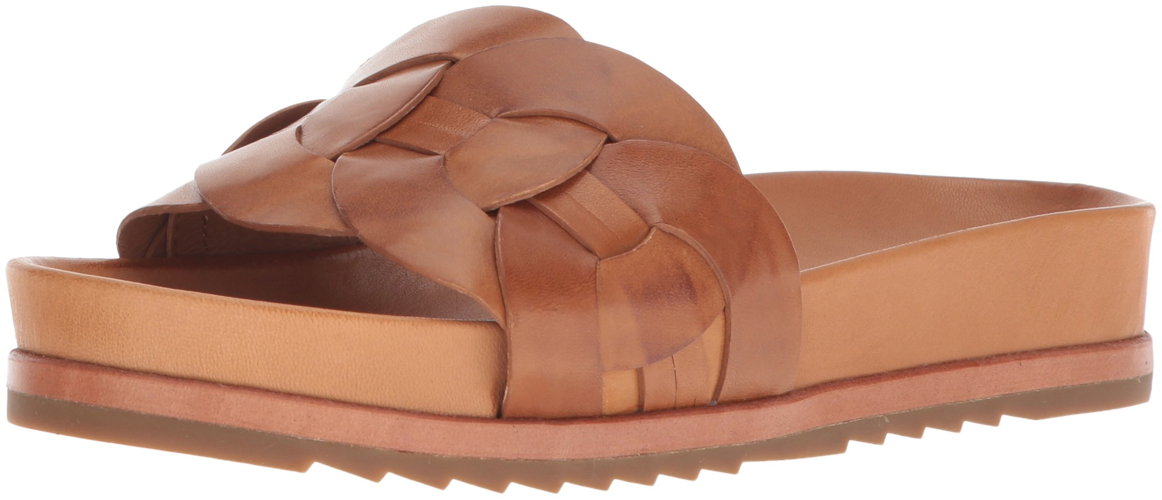 FRYE Women's Lily Leather Ring Slide Sneaker, Tan, 6 M US