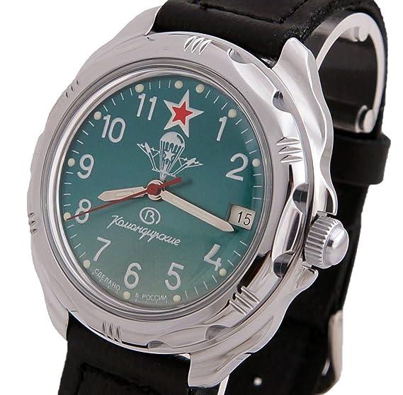 Vostok KOMANDIRSKIE 211307/2414 un militar ruso de las fuerzas especiales reloj verde VDV Paratrooper