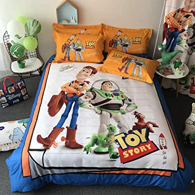 Casa 100% Cotton Kids Bedding Set Boys Lightning Toy Story Buzz Lightyear and Woody Duvet Cover and Pillow Cases and Fitted Sheet,4 Pieces,Queen: Home & Kitchen