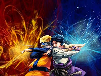 amazon com naruto vs sasuke giant poster art print x3210 32x24