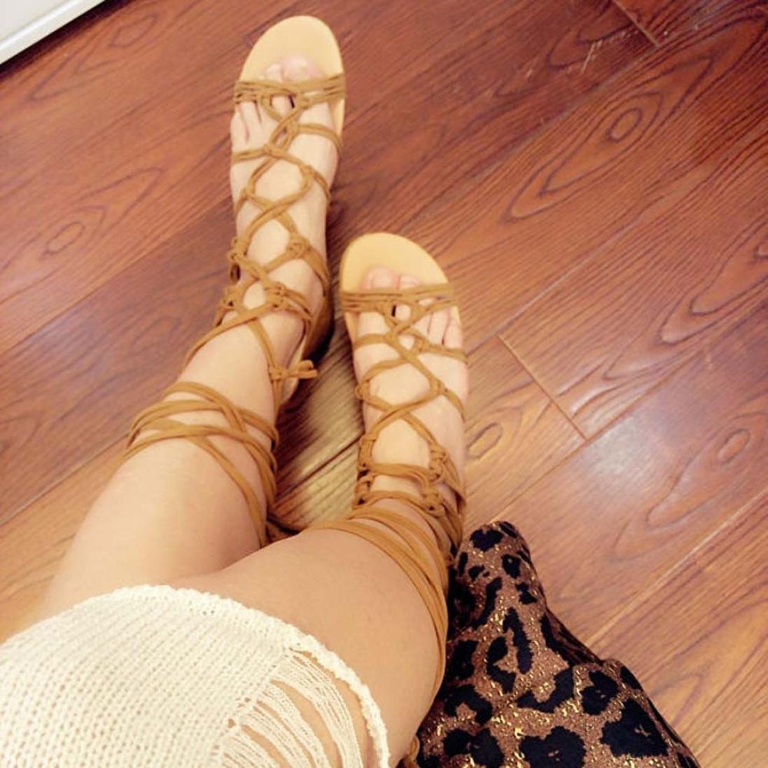 LUCKYCAT Sandales d/ét/é Femme Chaussures de /Ét/é Sandales /à Talons Chaussures Plates Bottes Hautes Sandales Boh/ême Pansements Chaussures D/écontract/ées 2018