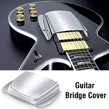 Puente para guitarra, cubierta de pastilla cromado pantalla para Bass - Durable largo/corto acero puente Cover Pantalla Repuesto Parte para bajo eléctrico ...