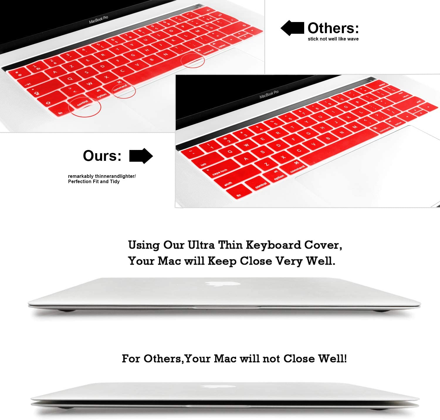Batianda Waterproof Ultrathin Keyboard Cover Protector Silicone Skin for Newest 2018 2017 2016 MacBook Pro 13 15 inch with Touch Bar /& Touch ID Model:A1989 A1706 Red A1990 A1707