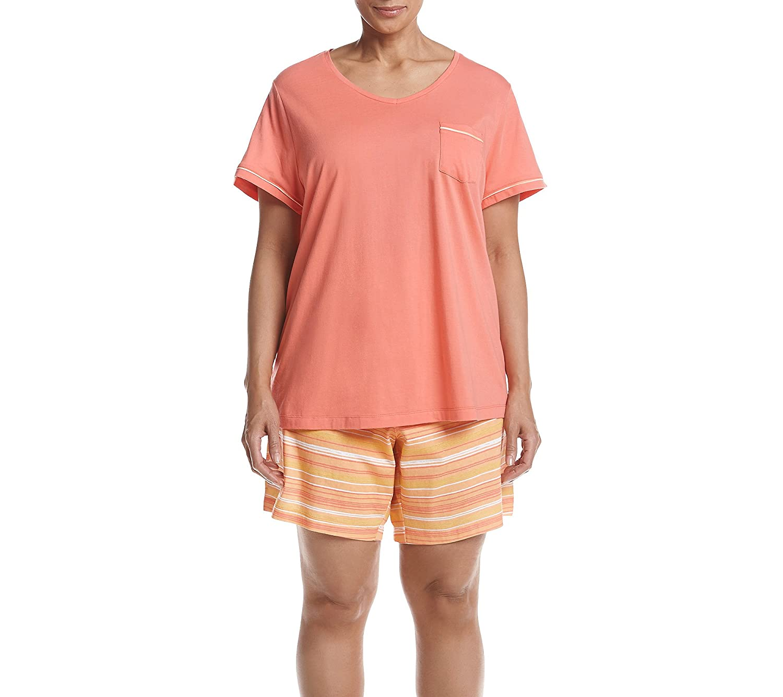Intimate Essentials Plus Size Stripe Bermuda Pajama Set
