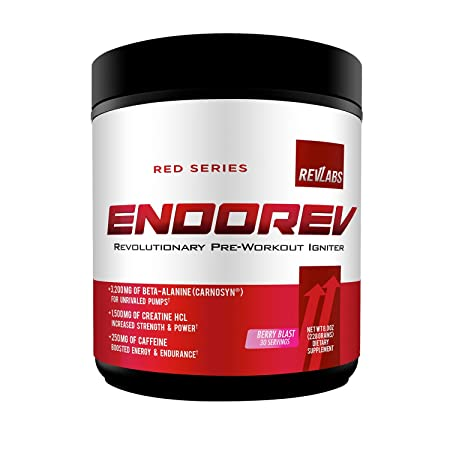 Rev Labs EndoRev Red Series Pre-Workout with 3G of Beta Alanine, 1.5G of Creatine 30 Serving, Berry Blast