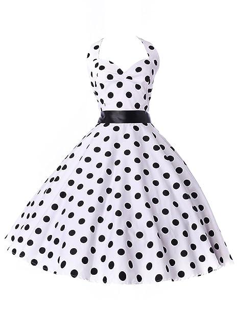 TF con escote Halter sin mangas Queen Vintage diseño de lunares para hacer vestidos de niña
