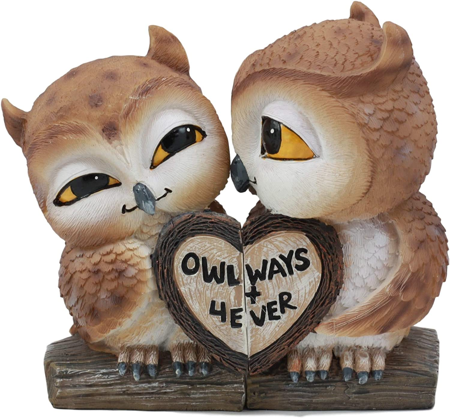 Ebros Romantic Kissing Love Owl Couple Decor Statue 2 Piece Set Decorative Figurine Valentines Birds Pair of Owls Holding Heart Shaped Sign Saying Owlways 4Ever