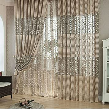Anself 2St Vorhang Gardine Fenster Mit Blatt Muster Fr Wohnzimmer Schlafzimmer 100200CM
