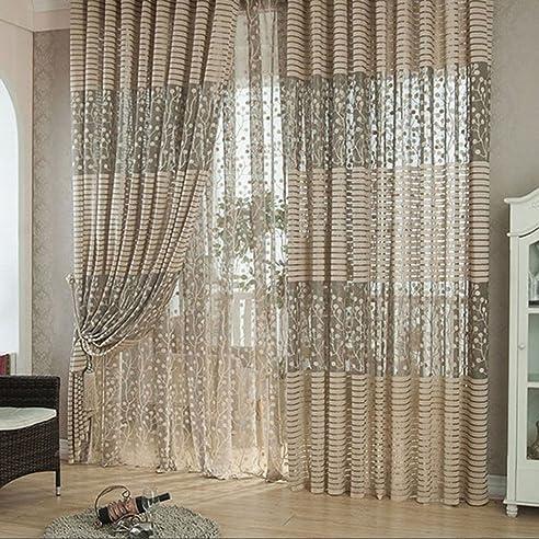 Anself 2St Vorhang Gardine Fenster Gardine mit Blatt-Muster für ...