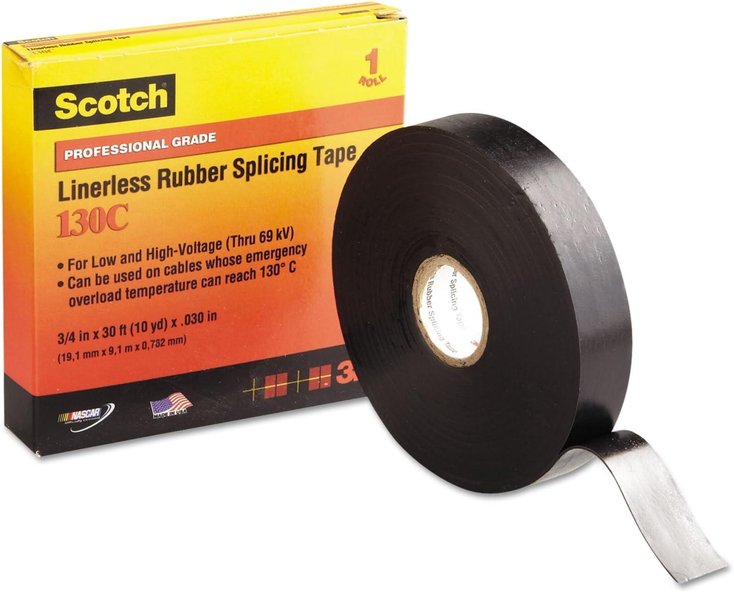 Scotch® Linerless Rubber Splicing Tape 130C 1 in x 30 ft Black