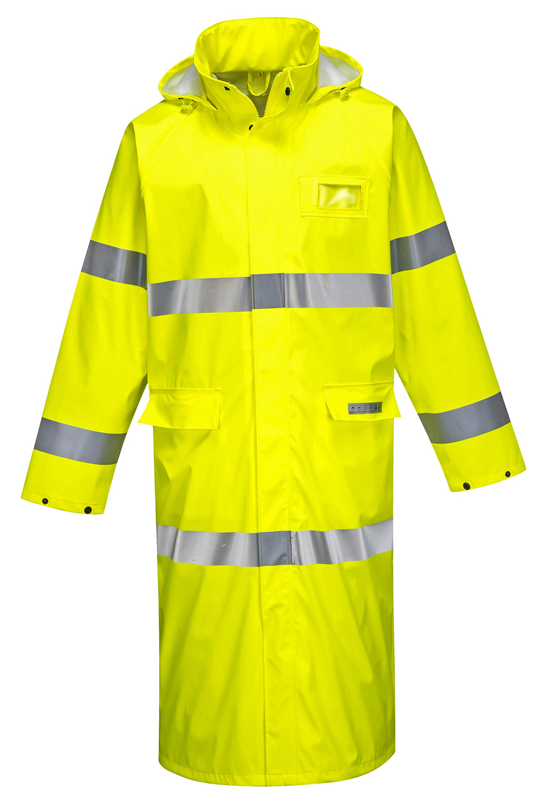 Brite Safety Flame Resistant Hi Vis Rain Coat 50'' - ANSI Class 3 - High Visibility, Waterproof, Lightweight (2XL, HiVis Yellow)